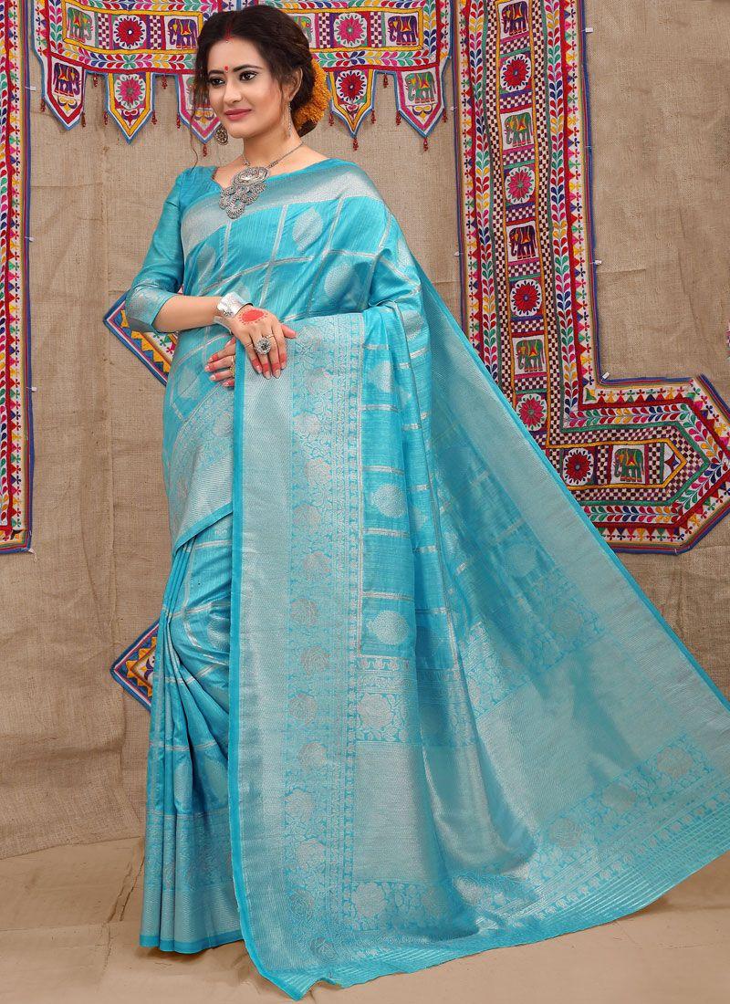 Blue Wedding Fancy Fabric Traditional Saree