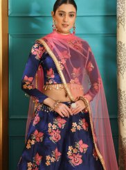Blue Wedding Jacquard Lehenga Choli