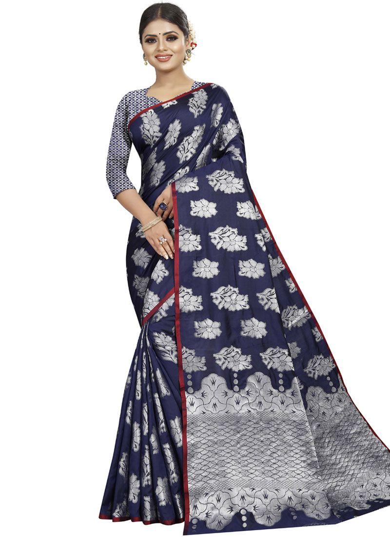 Blue Woven Art Silk Traditional Designer Saree