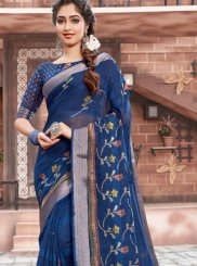 Blue Woven Cotton Saree