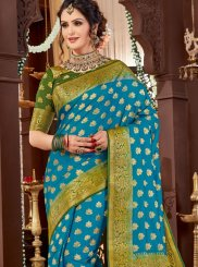 Blue Woven Tussar Silk Traditional Designer Saree