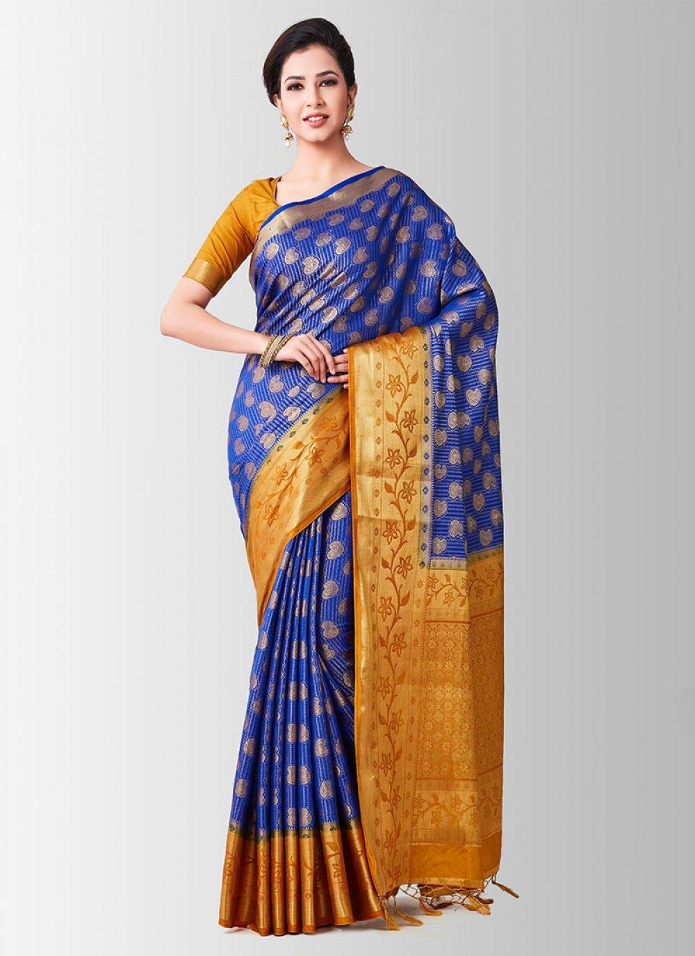 Blue Zari Designer Traditional Saree