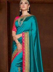 Blue Zari Mehndi Designer Saree