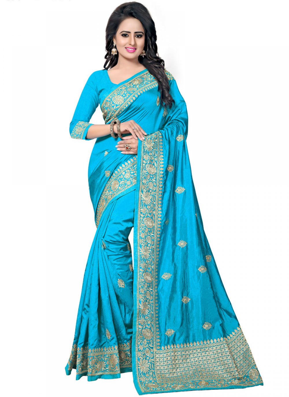 Blue Zari Traditional Designer Saree