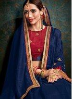 Border Blue Fancy Fabric Classic Saree