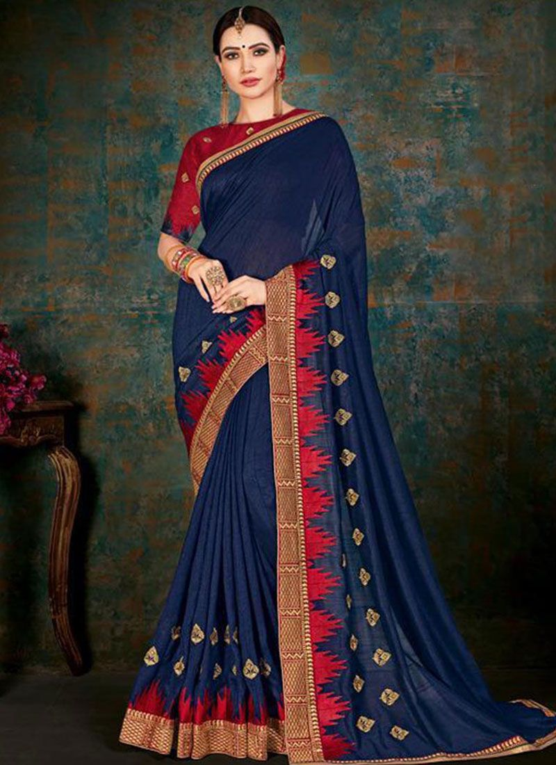 Border Blue Fancy Fabric Classic Saree