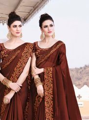 Border Brown Trendy Saree