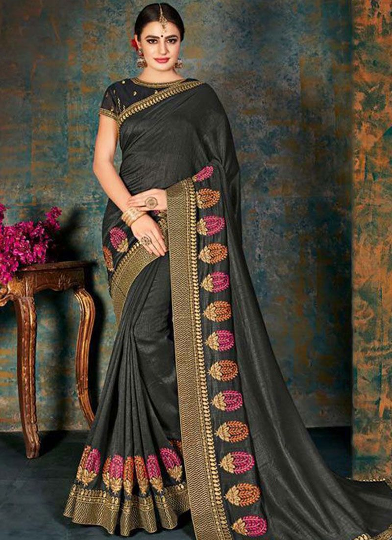 Border Fancy Fabric Trendy Saree in Black