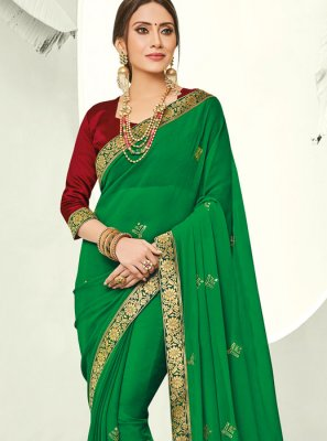 Border Faux Chiffon Green Trendy Saree