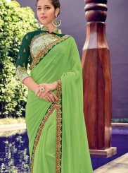 Border Green Faux Chiffon Trendy Saree