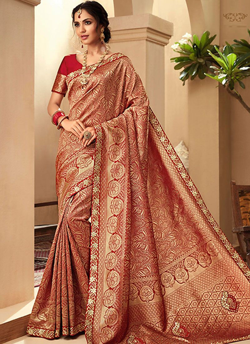 Border Jacquard Silk Trendy Saree in Red