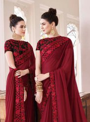 Border Maroon Trendy Saree