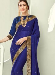Border Navy Blue Faux Chiffon Trendy Saree