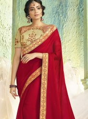 Border Red Faux Chiffon Trendy Saree