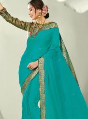 Border Sea Green Trendy Saree