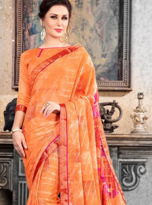 Brasso Abstract Print Multi Colour Printed Saree