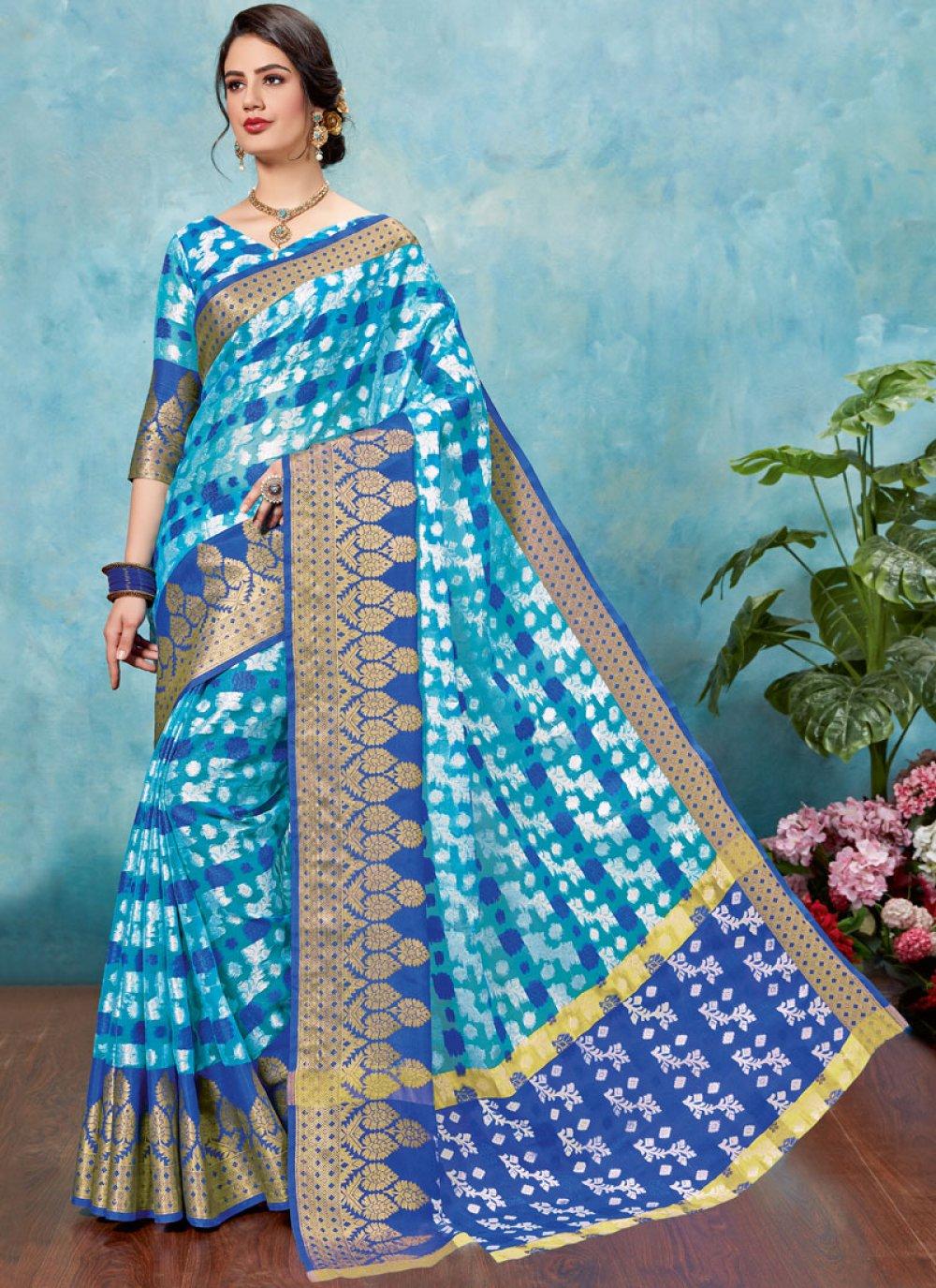 Brasso Blue Woven Designer Traditional Saree