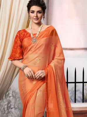 Brasso Foil print Orange Classic Designer Saree
