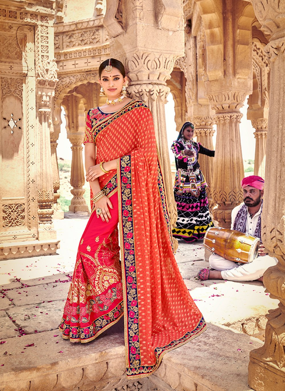 Brasso Patch Border Hot Pink and Orange Designer Half N Half Saree