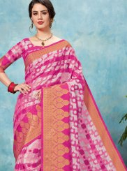 Brasso Pink Woven Classic Saree