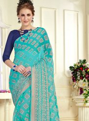 Brasso Printed Trendy Saree in Turquoise