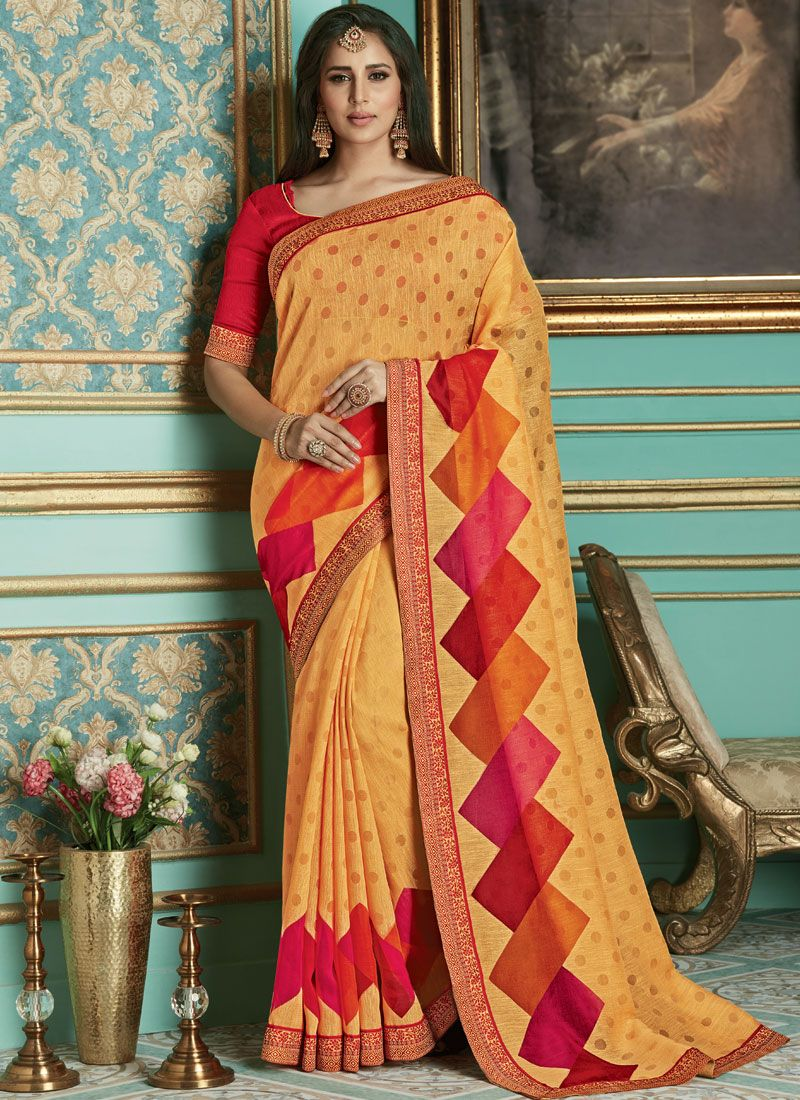Brasso Weaving Traditional Saree in Yellow