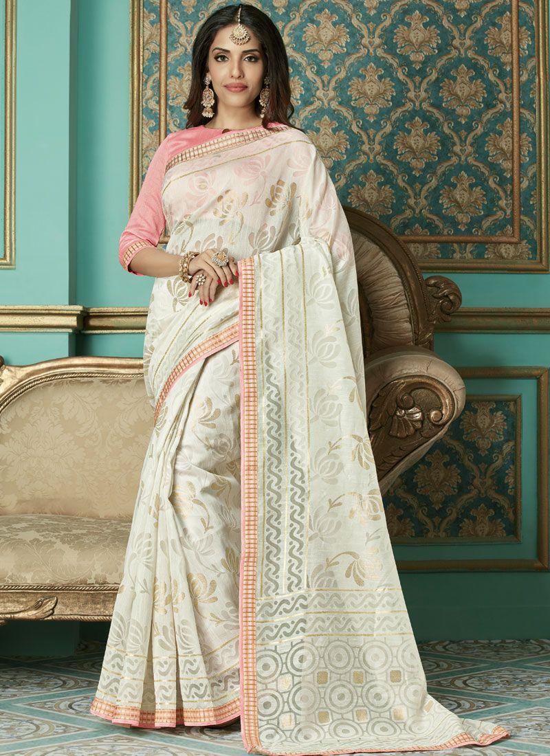 Brasso White Weaving Designer Traditional Saree
