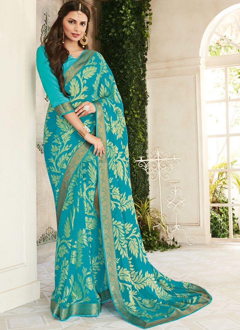 Brasso Zari Turquoise Classic Saree