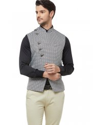 Brocade Black Printed Nehru Jackets