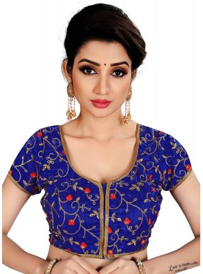 Brocade Blue Embroidered Designer Blouse