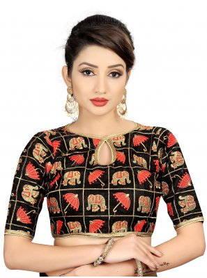 Brocade Embroidered Black Designer Blouse