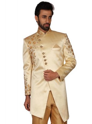 Brocade Embroidered Cream Kurta Pyjama
