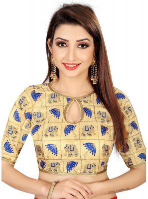 Brocade Embroidered Designer Blouse in Gold