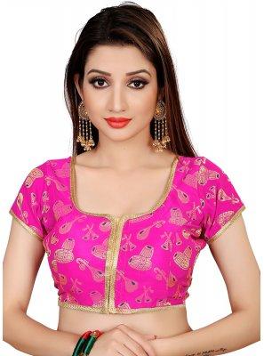Brocade Embroidered Designer Blouse in Pink