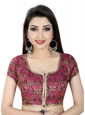 Brocade Embroidered Designer Blouse in Pink