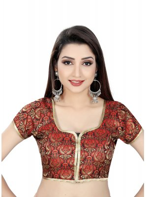 Brocade Embroidered Designer Blouse in Red