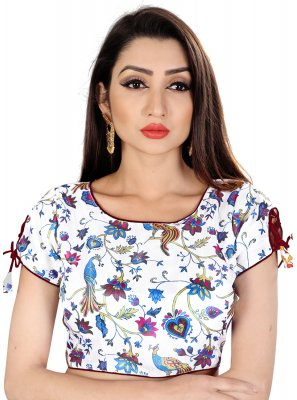 Brocade Embroidered Designer Blouse in White