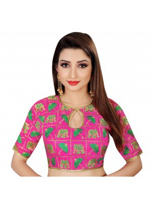 Brocade Embroidered Pink Designer Blouse
