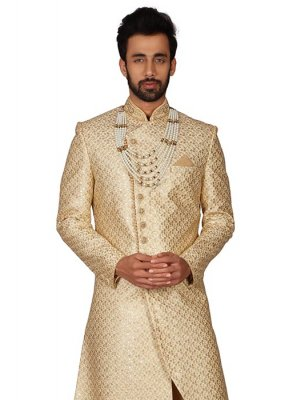 Brocade Gold Embroidered Kurta Pyjama