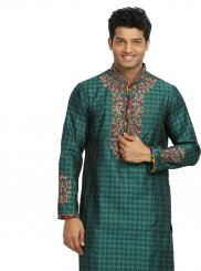 Brocade Green Embroidered Kurta Pyjama