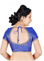 Brocade Machine Embroidery  Blue Designer Blouse