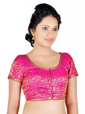 Brocade Machine Embroidery  Pink Designer Blouse