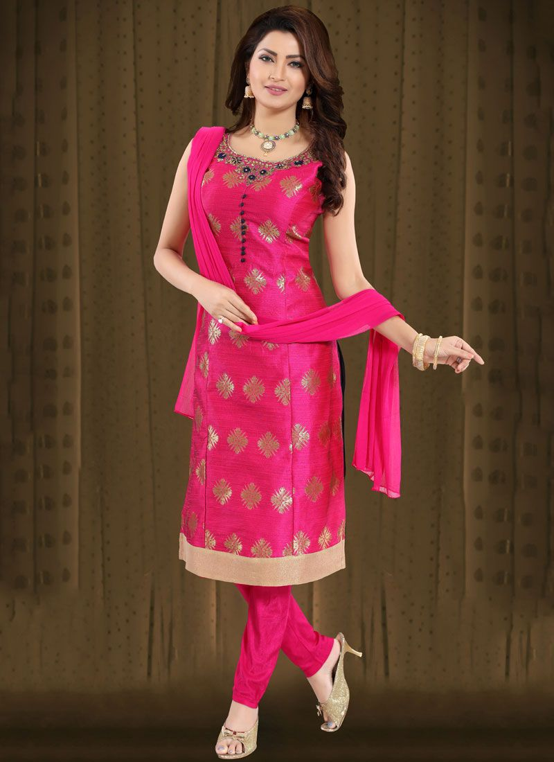 Brocade Rani Handwork Churidar Suit