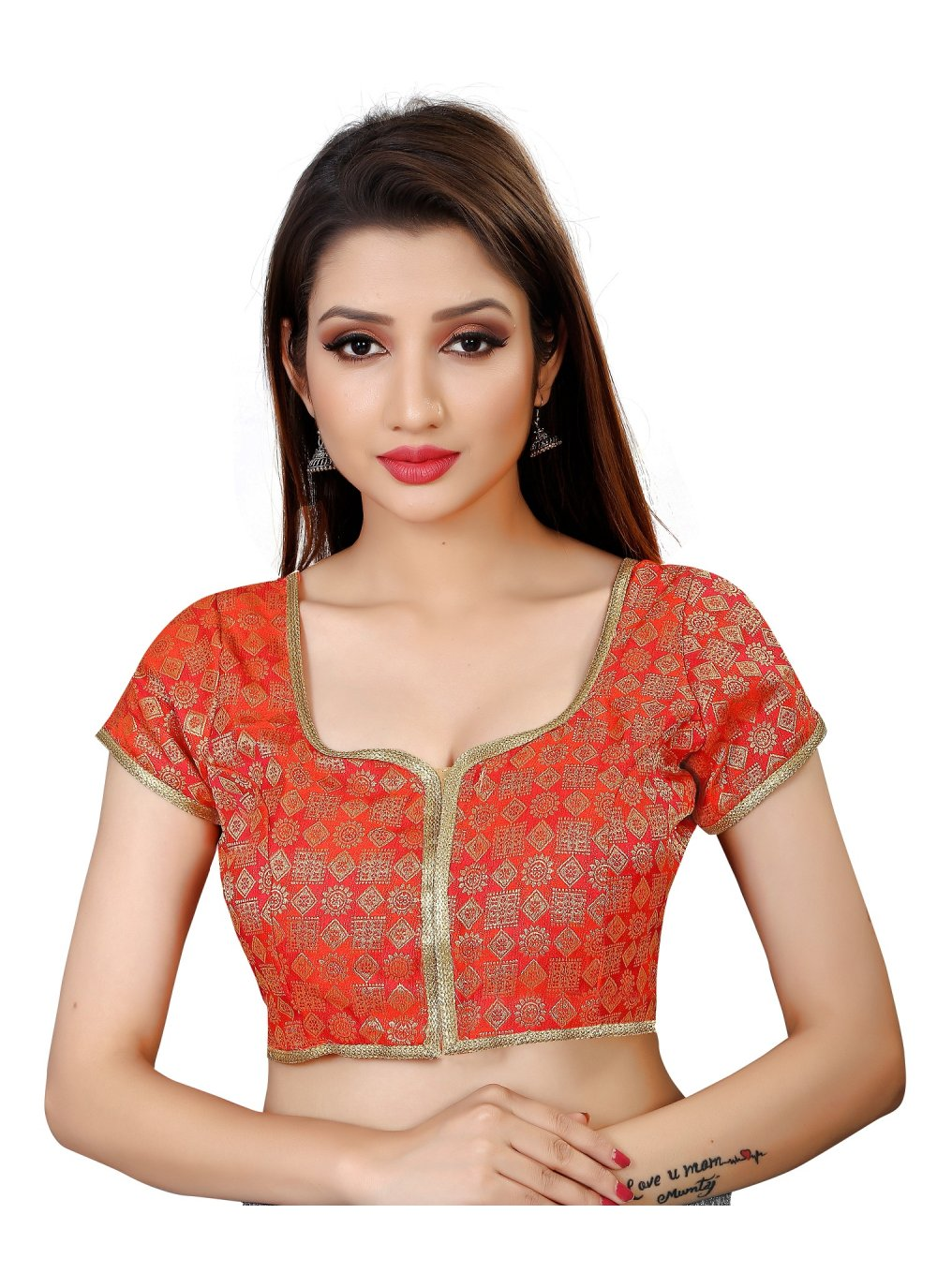 Brocade Red Embroidered Designer Blouse