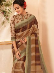 Brown Abstract Print Cotton Printed Saree