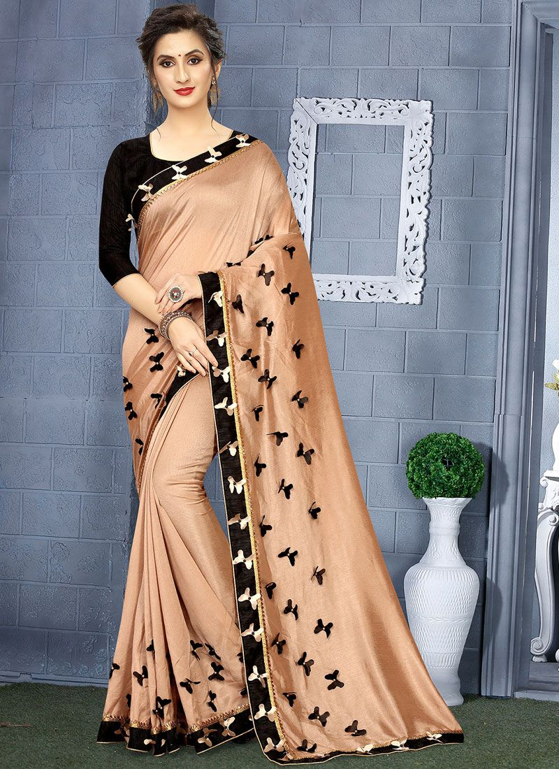 Brown and Gold Festival Linen Casual Saree