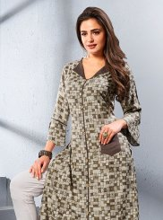 Brown and Grey Festival Party Wear Kurti