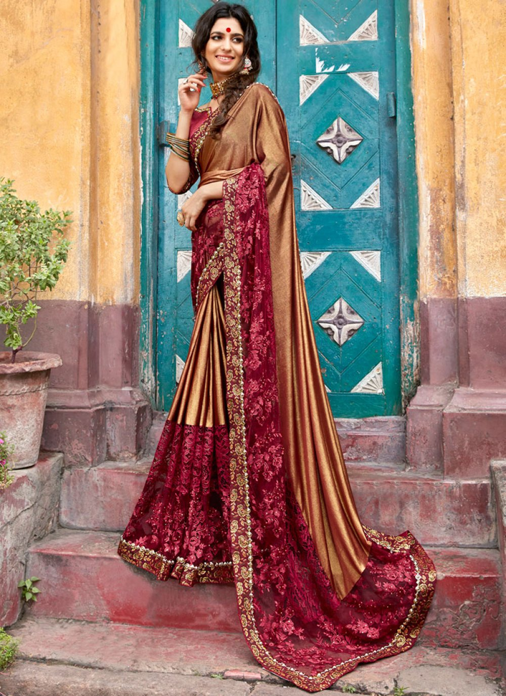 Brown and Maroon Lace Traditional Designer Saree