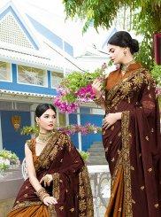 Brown and Mustard Art Silk Patch Border Designer Half N Half Saree
