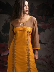 Brown and Orange Embroidered Designer Palazzo Salwar Kameez
